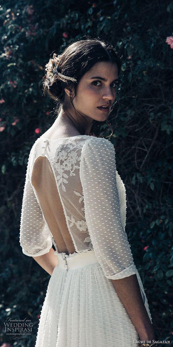 laure de sagazan 2017 bridal three quarter sleeves jewel neckline full embellishment beaded bohemian column wedding dress keyhole back (baudelaire) zbv -- Laure de Sagazan 2017 Wedding Dresses