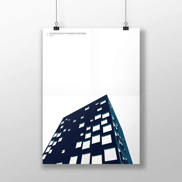 Architectural poster.  Icons serie by Piotr Zybura. Zollverein School of Management and Design by SANAA