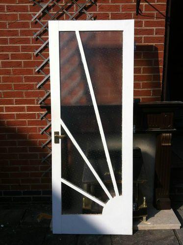 Reclaimed Art Deco 1930's-1940's Sunburst Solid Wood Internal Door