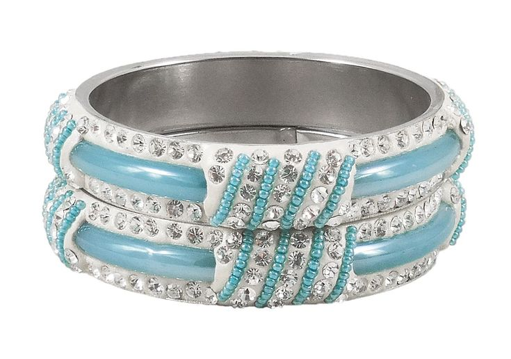 Pair of Light Blue Metal Bangles with Stone and Beads (Stone and Metal)