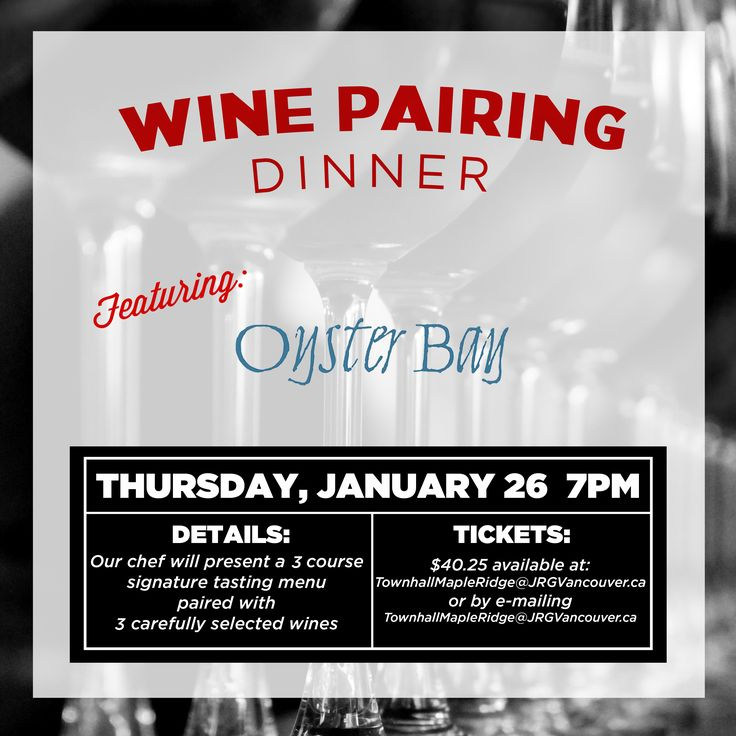 3 Course Oyster Bay Wine Pairing Dinner at Townhall Maple Ridge ‹ Joseph Richard Group