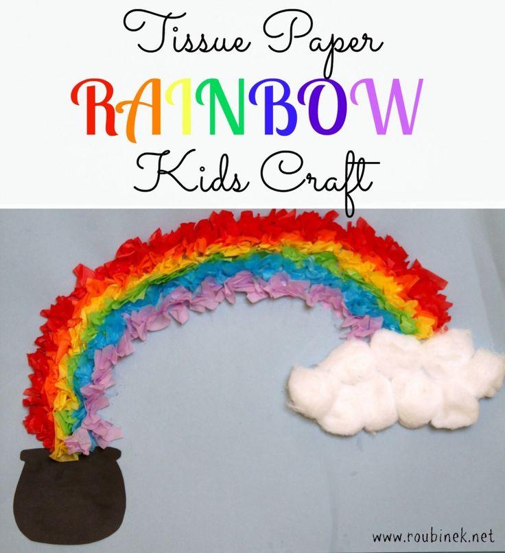 Tissue Paper Rainbow Kids Craft #stpatricksday
