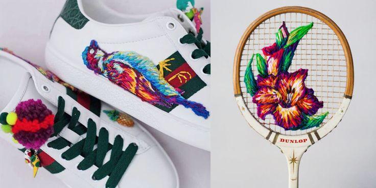 Danielle Clough è una vera artista del ricamo: ha cominciato a farlo sulle griglie di racchette da tennis vintage per continuare con sneaker ricamate di Gucci