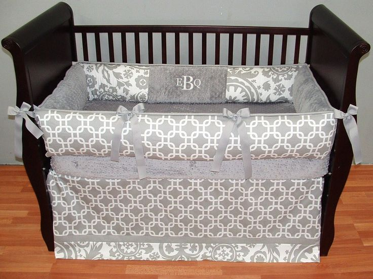 Elton Gray Baby Bedding And White In Geometric Links Floral Designer Cotton Fabrics Make