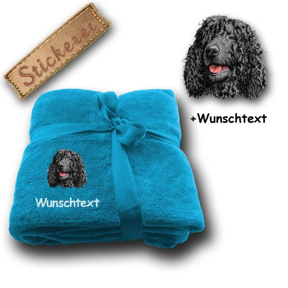 Fluffy blanket embroidered with Irish Water Spaniel + Own Words