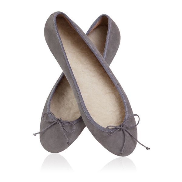 FLATTERED Indoor Sheepskin Ballerina Grey (1.912.965 IDR) ❤ liked on Polyvore featuring shoes, flats, narrow ballet flats, bow ballet flats, bow flats, wide flats and gray flats