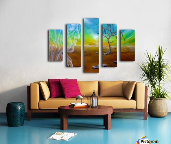 Polyptych, 5 split,  stretched, canvas, multi panel, prints, for sale, painting,landscape,sky,earth,tree,nature,celestial,scene,angel,fairy,spirit,girl,woman,female,feminine,long,hair,figure,face,fantasy,psychedelic,picturesque,whimsical,vibrant,vivid,colorful,orange,impressive,cool,beautiful,powerful,atmospheric,mystical,dreamy,dreamlike,contemporary,imagination,surreal,figurative,modern,fine,oil,wall,art,home,office,decor,artwork,modern,items,ideas,for sale