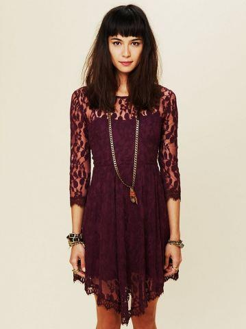 My dress for the Stumptowm Christmas party! Free People Floral Mesh Lace Dress in Plum.
