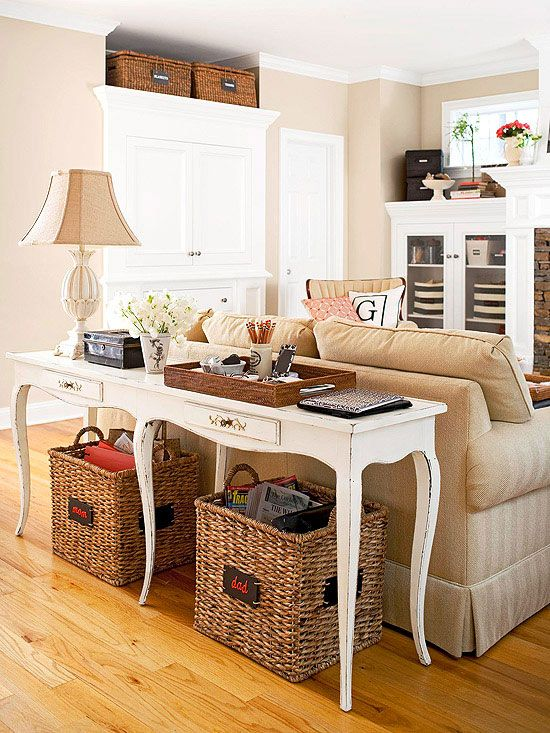 family friendly living rooms interior design inspiration rh pinterest com sofa table with wicker baskets White Console Table with Baskets