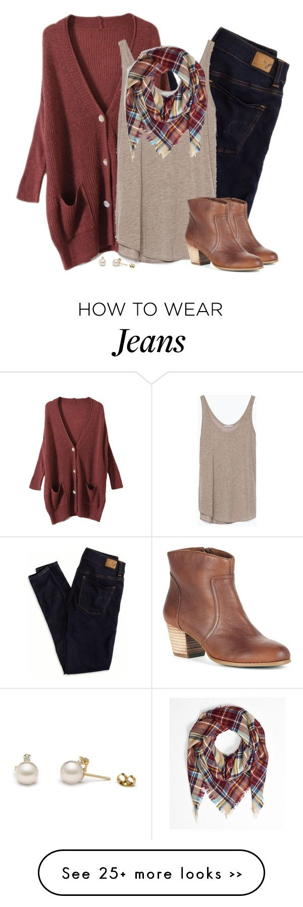 """""""Oversized rust cardigan & plaid blanket scarf"""" by steffiestaffie on Polyvore featuring мода, American Eagle Outfitters, Zara и Sole Society"""