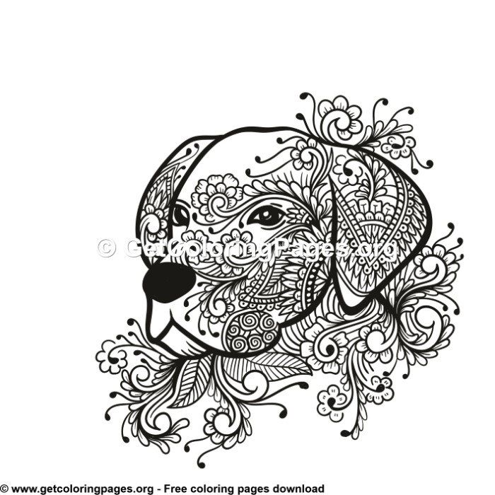 Dog Head Tribal Zentangle Style Coloring Pages Dog Coloring Page Coloring Pages Dog Drawing