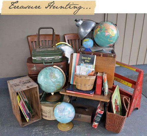 school house theme, flea market finds