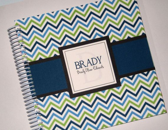 Personalized Spiral Bound Baby Book - Lime Green & Navy Blue Chevron - Pregnancy Journal - Boy - Girl on Etsy, $40.00
