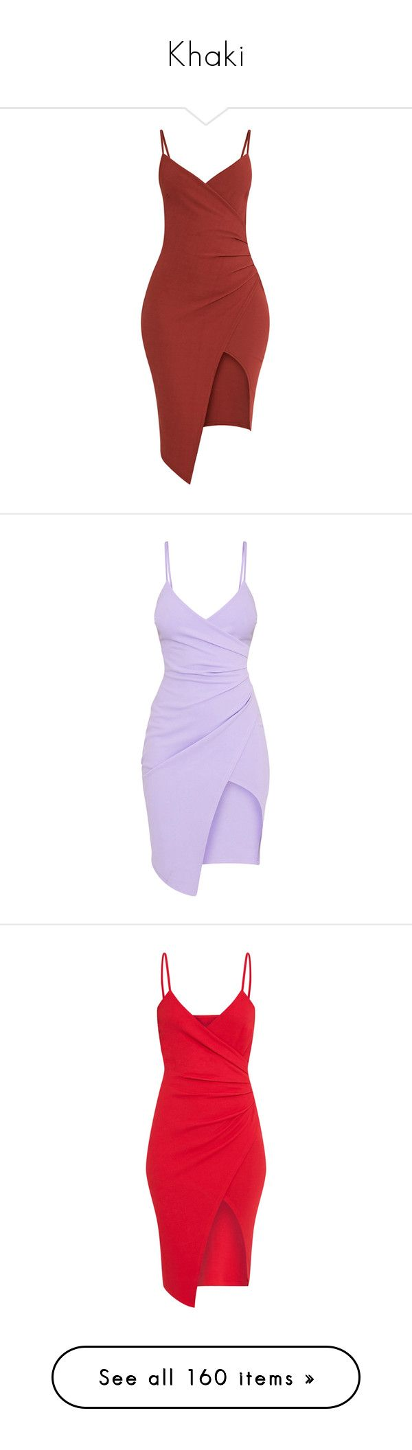 """""""Khaki"""" by angelbrubisc ❤ liked on Polyvore featuring dresses, red dress, wrap front dress, crepe fabric dress, khaki dress, crepe dress, purple dress, lilac midi dress, midi dresses and red day dress"""