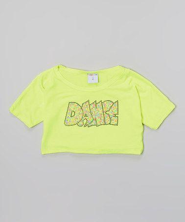 Look at this #zulilyfind! Neon Yellow 'Dance' Crop Top - Girls #zulilyfinds