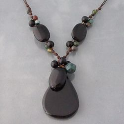 Onyx and Jade Stone Teardrop Necklace (Thailand)