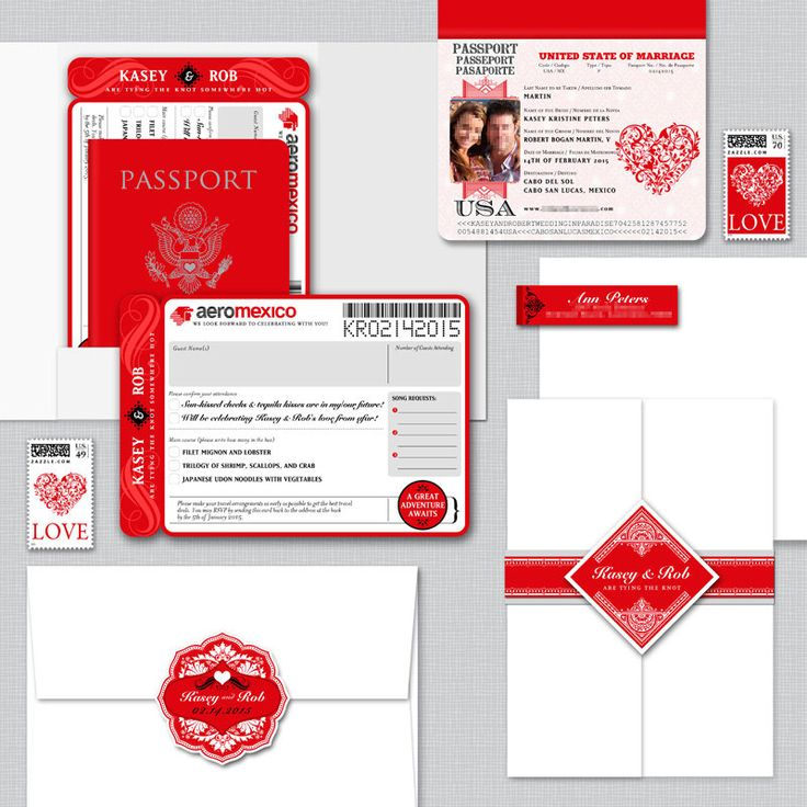Kasey Red and White Valentine Embossed Wedding Passport and Boarding Pass/ Airline Ticket Destination Wedding Invitation by AprilTwentyFive on Etsy https://www.etsy.com/listing/221071850/kasey-red-and-white-valentine-embossed