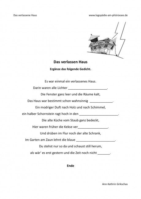 Gedicht ergänzen: Das verlassene Haus von Ann-Kathrin Grikschas auf @madoo_net