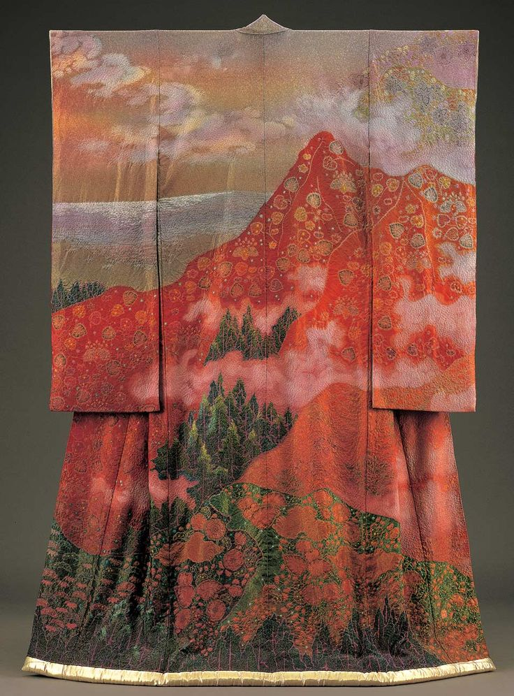 Kimono as Art: The Landscapes of Itchiku Kubota To Open at San Diego Museum of Art Brilliant work.  This master of textiles studied an ancient form of weaving, produced many kimonos, showing various seasons featuring the same landscape....wonder if he lived long enough to complete his dream.   There is a book showing his works.  Would love to see the exhibit.