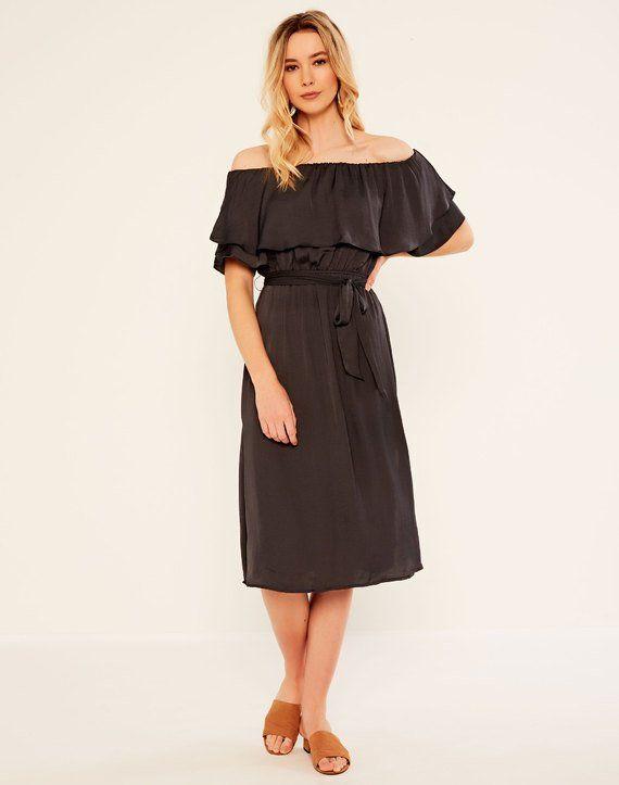 Bardot Dress Dark Ash
