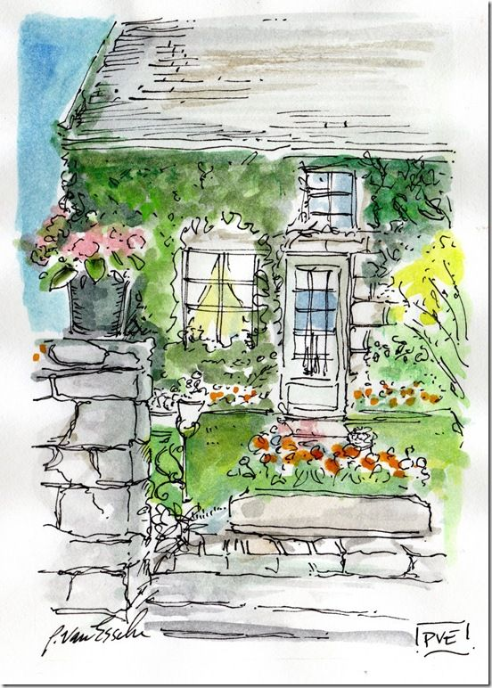 pen and ink and watercolor, by Patricia van Essche.