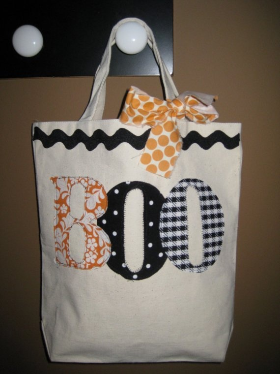 no sew trick or treat bag--canvas bag & use iron on fabric, letters…