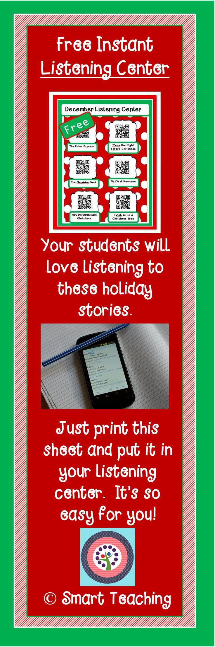 This is so easy for you!  Just print this sheet of QR codes and put it in your listening center.  Students can scan the codes and listen to the stories.  It includes three December holidays.