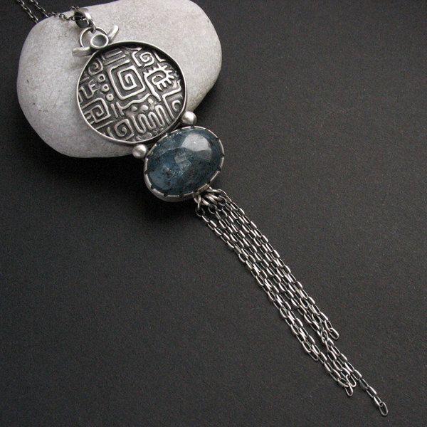 Ichtaca - silver pendant with kyanite by FiannJewelry