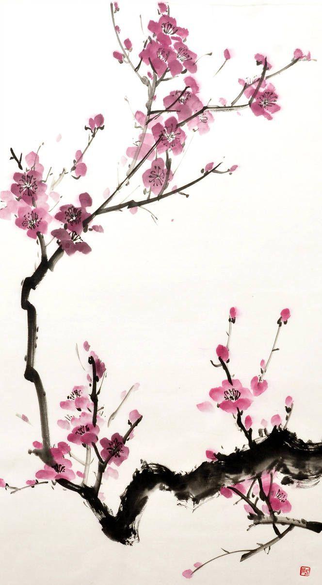 Sumi E Plum By Bsshka On Deviantart Cherry Blossom Art Blossoms Art Flower Art