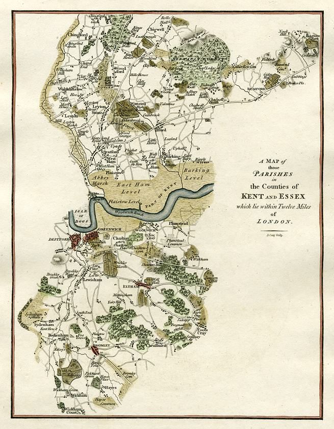 Map : Parishes in the Counties of Kent and Essex, England  1796