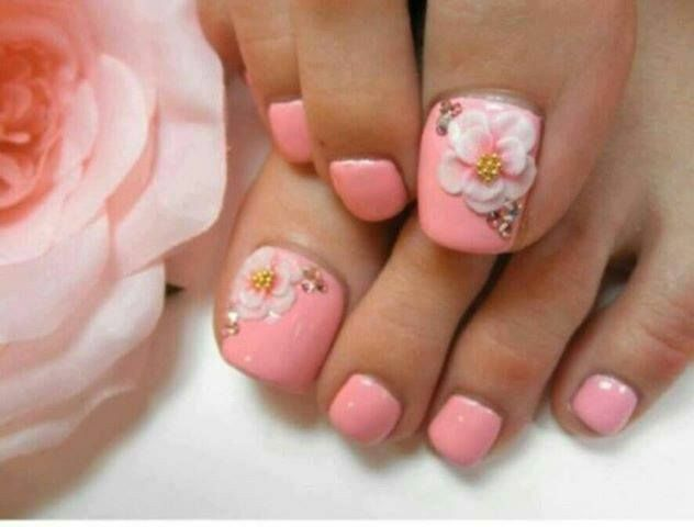 44 best nail art 3d images on pinterest accent nails acrylic toe nail art 3d flowers prinsesfo Choice Image