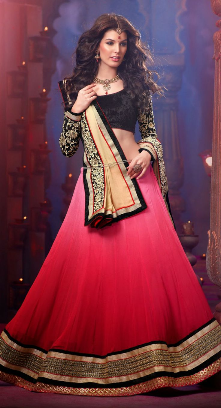 Elegant Brick Red  Pale Pink #Lehenga #Choli