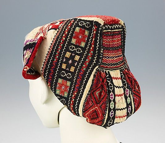 Cap Date: 1890–1910 Culture: Slovak Medium: cotton, wool, silk Dimensions: 9 x 9 1/2 in. (22.9 x 24.1 cm) Credit Line: Brooklyn Museum Costu...