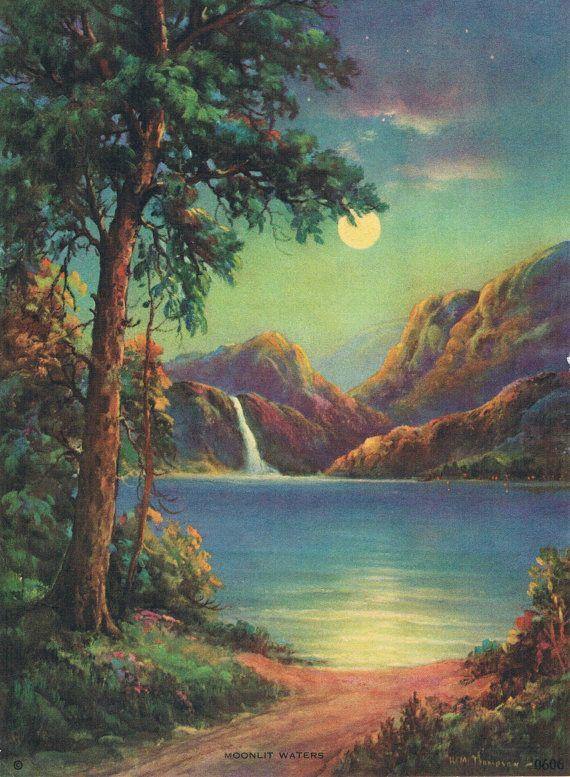 Moonlit Waters H M Thompson Calendar Art by RedfordRetro on Etsy, $10.00