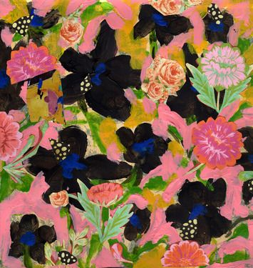"""Terry Castle; Collage, """"Pink and Black Flower Field"""""""