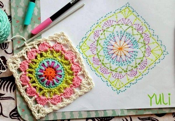 DIY Un carré Granny et son pas à pas en images. (http://crochet-plaisir.over-blog.com/2015/08/joli-carre-granny-et-son-pas-a-pas-en-images.html)