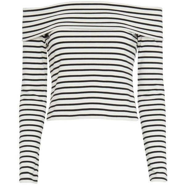 Derek Lam 10 Crosby Striped Off The Shoulder Top (£195) ❤ liked on Polyvore featuring tops, jumper, shirts, stripe top, long sleeve tops, striped off the shoulder top, crop top and white top