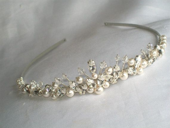 handmade swarovski wedding tiara ivory pearls by HelenCurtisTiaras, £46.00