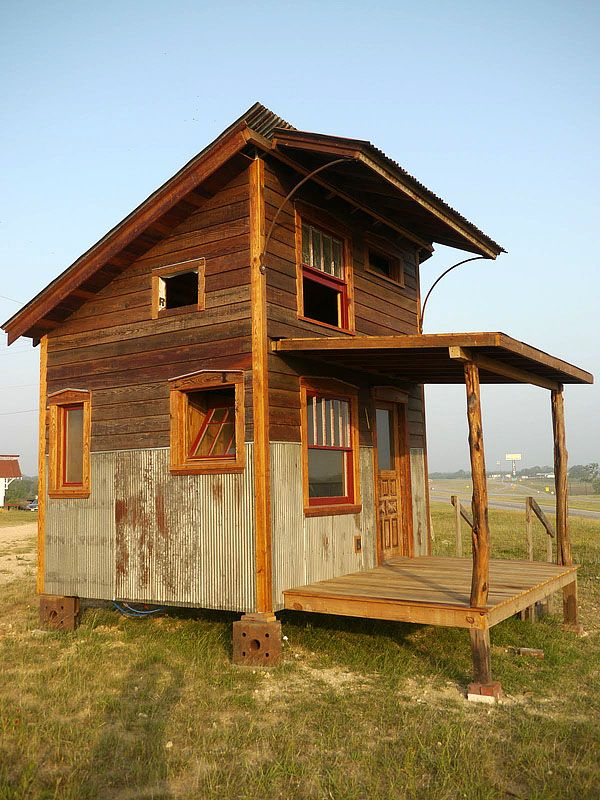 Tiny house made from salvaged materials.