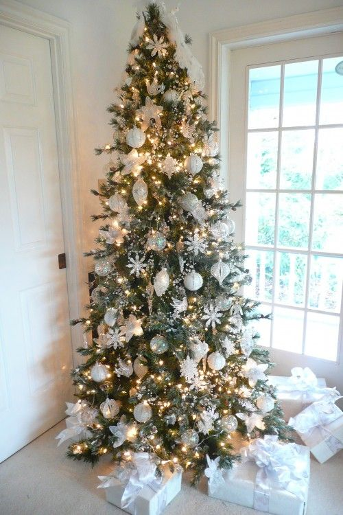 If your decorating style is more cottage white, consider covering your tree in all white or white and silver ornaments. Glass or crystal beads and ornaments will also work well with this color scheme. The look is elegant and fairy-like. Finish off the look with presents wrapped all in white.