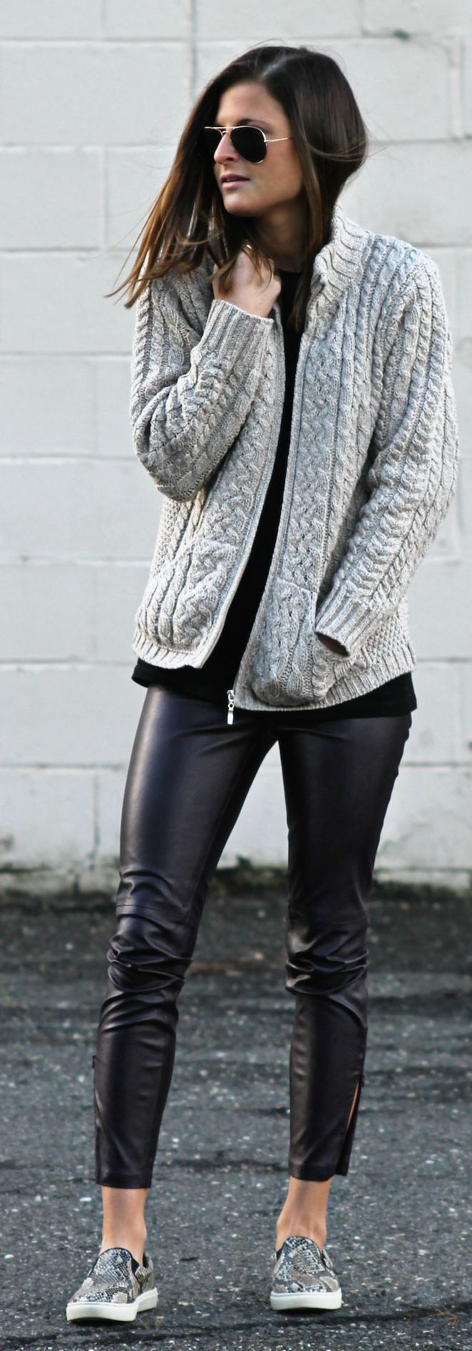 ♥Grey Cable Knit Cardi