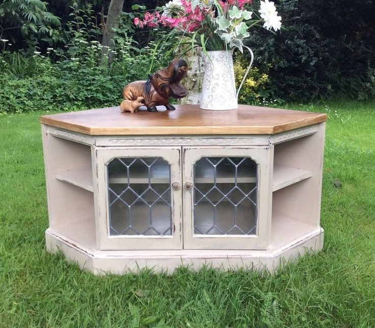 Shabby Chic Painted Oak Corner Tv/DVD/audio Cabinet With Double Opening Doors   | eBay