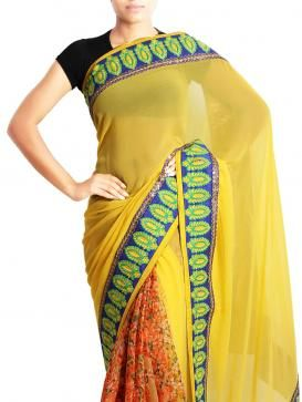 Look elegant in lime green Georgette sari and create a style statement