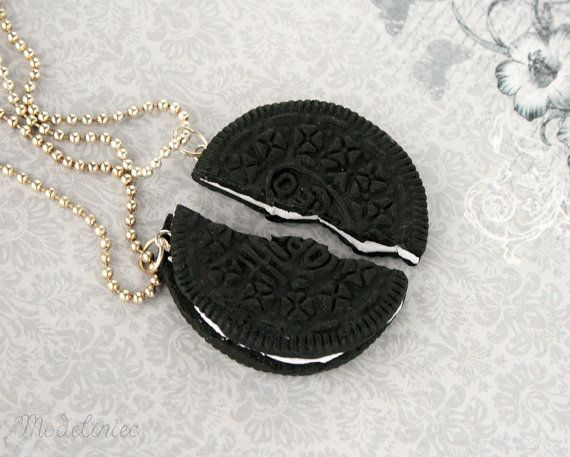 Necklace sweet cookie oreo handmade polymer clay bff friends