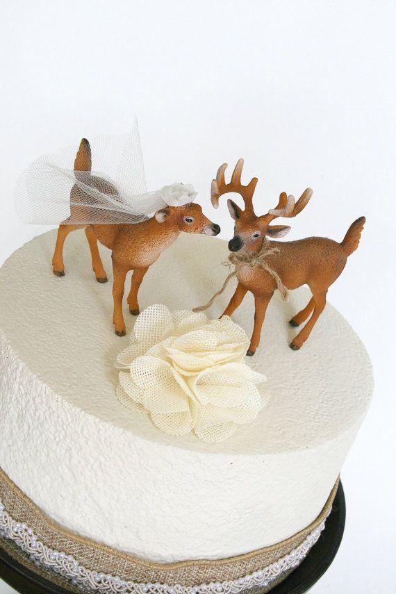 Redneck Cake Topper / Deer Cake Topper / Wedding by hawthornehill
