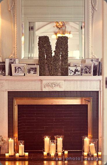 monogram mantle: Fireplaces Mantles, Monograms Letters, Decor Ideas, Decor Mantles, Fireplaces Decor, Photo Letters, Wedding Mantles, Eolia Mansions, Cool Ideas