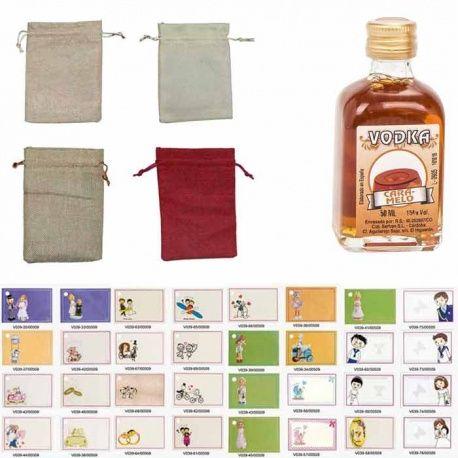 Vodka caramelo 50ml con bolsa de saco y tarjeta