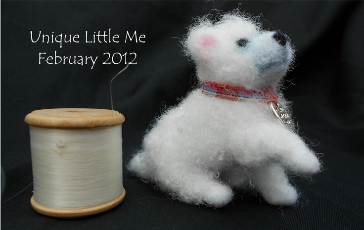 Needle felt dog created by It's By Clare