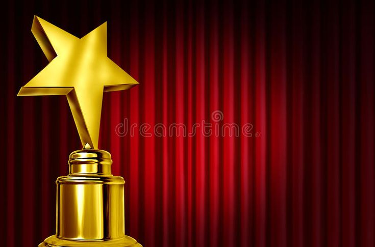 Star Award On Red Curtains. Or Velvet Drapes With A Spot