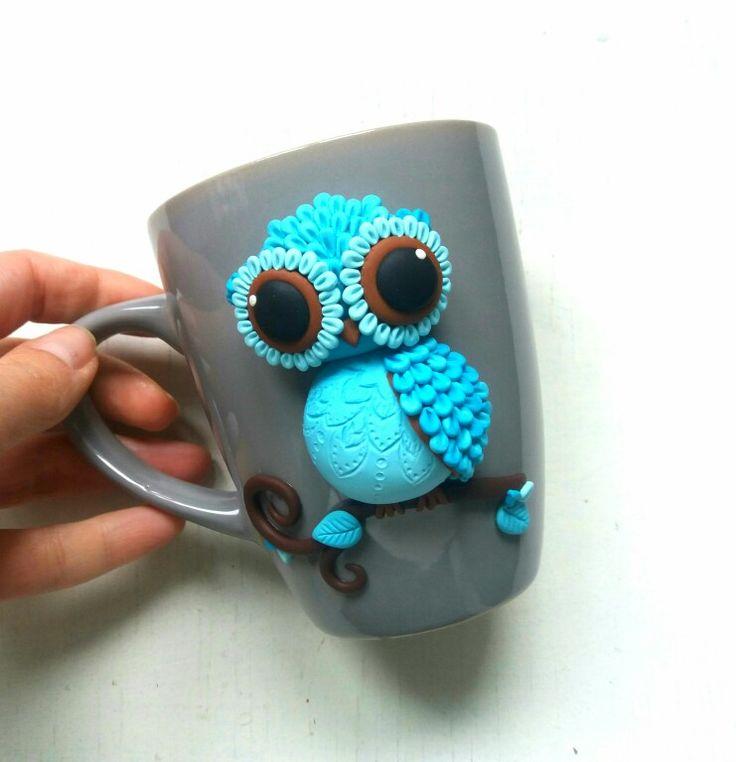 Polymer clay owl mug